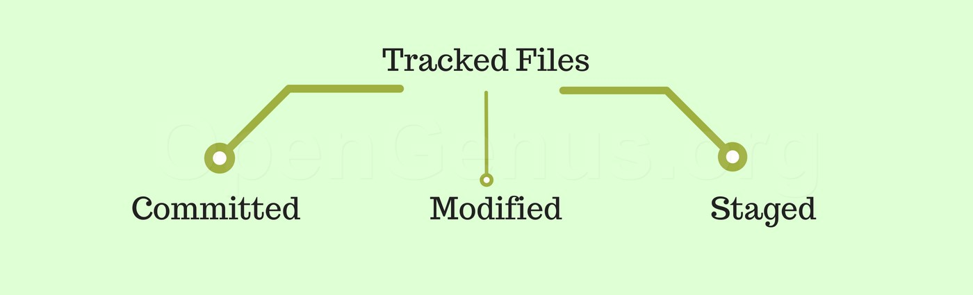 committed, modified and staged files git