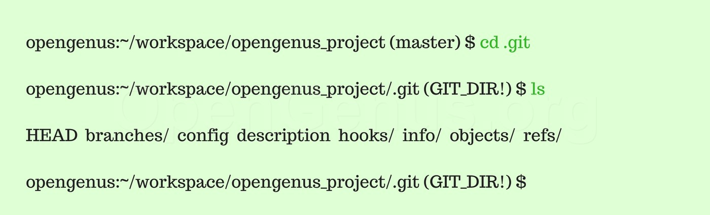 Initialize git repository cd .git and ls command