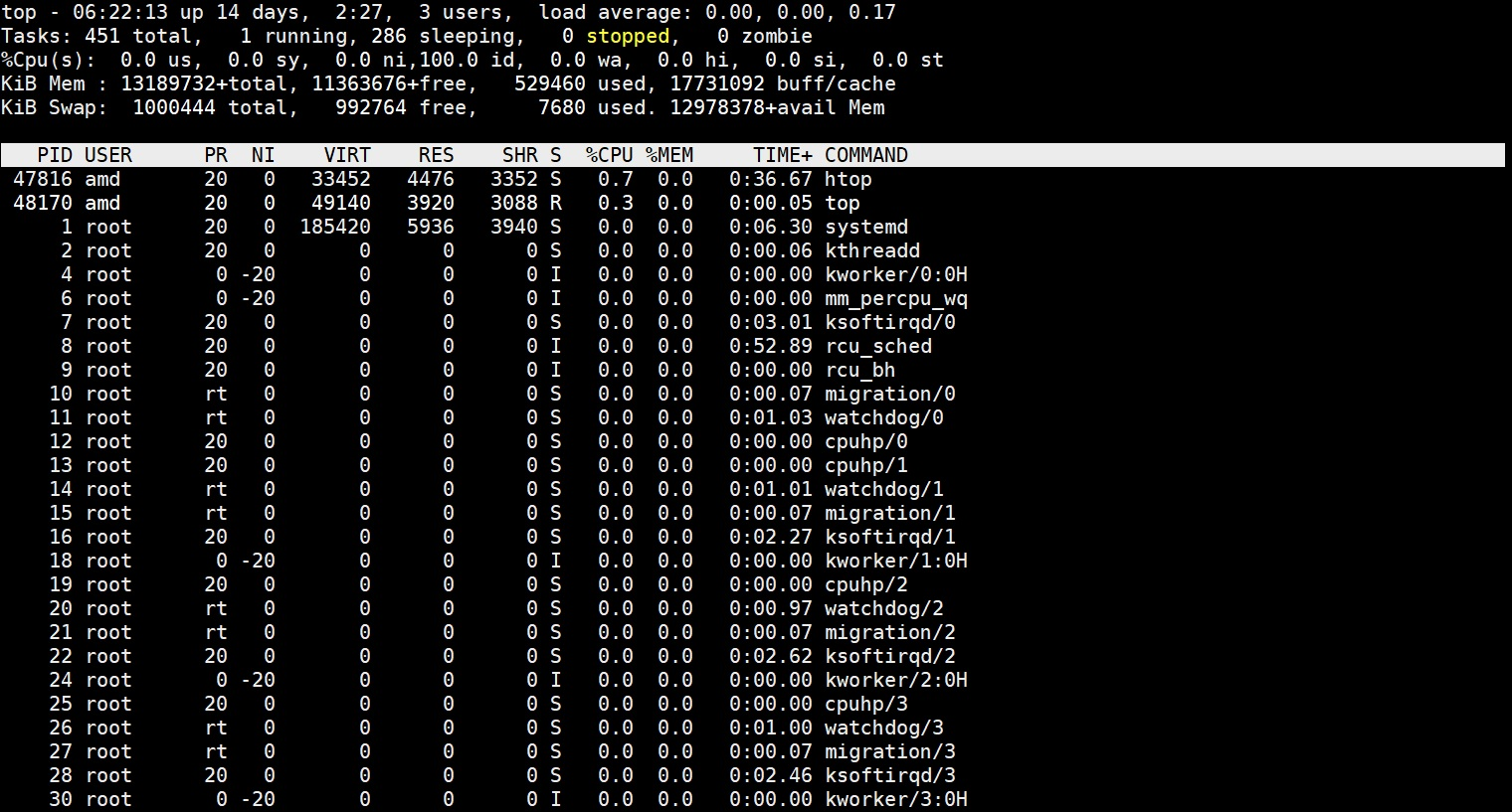 top command output