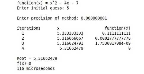 Newton Raphson Method to find root of any function